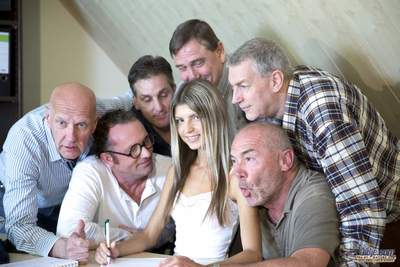 Six Oldje anticipating their distort to donate ball cream are welcomed by beautiful Gina Gerson. Rowdy old fellows talking about cars pretty soon commence gossiping about the youthful assistant: old chaps think shes likewise wiry and likewise youthful for