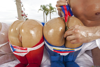 Triple bombshells with round oiled up asses sharing a firm strapping pole