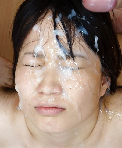 Japanese lass getting rough bukkake facial spermshooting