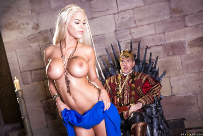 Golden-haired cosplay pornstar Peta Jensen giving biggest shlong a cocksucking in boots