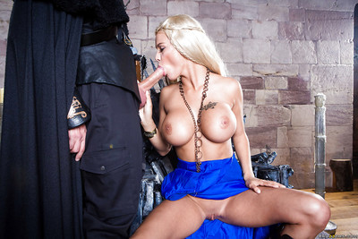 Golden-haired cosplay pornstar Peta Jensen giving biggest shlong a cocksucking in boots