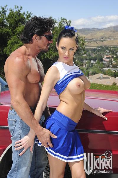 Cheerleader with heavy billibongs Alektra Blue takes a pride cavernous in her shaft
