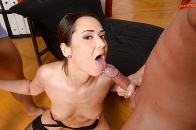 European MILF Angie Moon pleasant semen on face in office afterwards hardcore DP