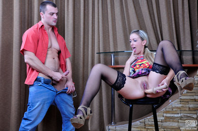 Ponytailed blondie purchases her pooper warmed up with a phallus exchanger for a studly rod