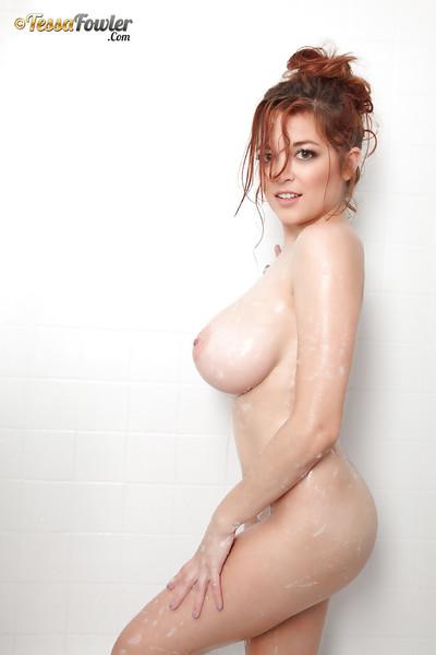Redhead dear with massive billibongs Tessa Fowler way without clothes enjoy a pornstar