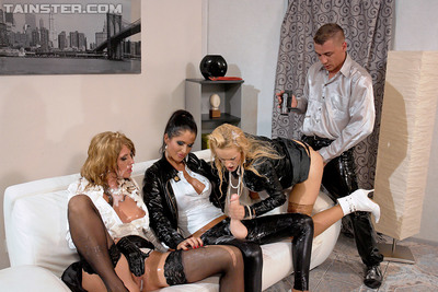 European lesbian babes have grimy utterly covered two men plus one female using fake pecker and sperm