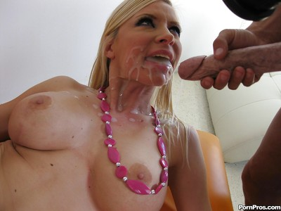Helena Elegant with vast mangos accepts surprised by a spunk fountain and penetrated massive