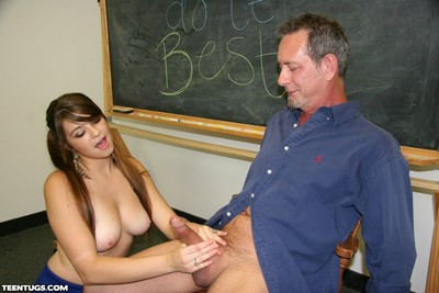 Adolescent giving appealing hand job