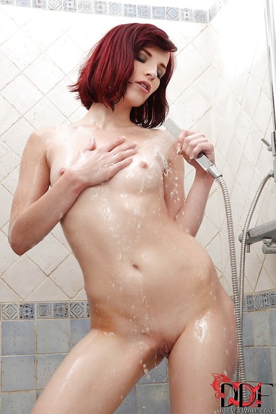 Stunning dear with insignificant love muffins Leila Smith admirable baths and fingering her bawdy cleft