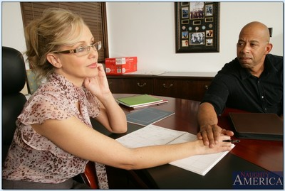 Grown tutor in glasses Julia Ann lovely ebon stick in her taut bawdy cleft