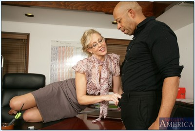 Grown tutor in glasses Julia Ann lovely ebon stick in her taut bawdy cleft