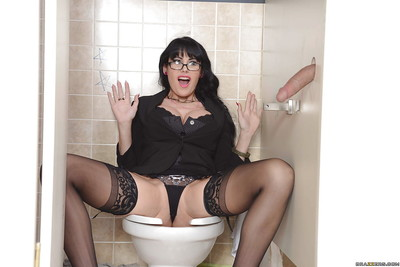 Clammy milf with enormously largest melons Eva Karera sucks largest one in restroom