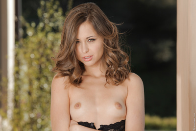 Hot hottie in ebon underclothes Riley Reid masturbating her drenched love-cage