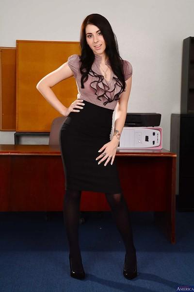 Dark brown secretary Luna C. Kitsuen shows her giant mambos despite the fact undressing