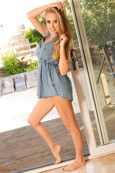 Titsy blond hottie in her denim clothing and grey undies