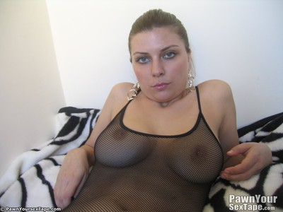 Sweaty giant booby girlfriend has sticky slit  fishnet shots blasted by her bf