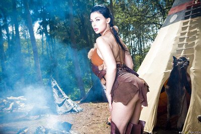 Dark hair chicito Aletta Ocean hitting dirty standing outdoors in cosplay getup