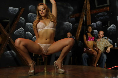 MILF pornstar Mia Malkova does a hawt stripping on stripper pole