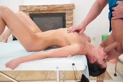 Mini 18yo with undersize wobblers acquires perspired oil act of love massage at tricky mas