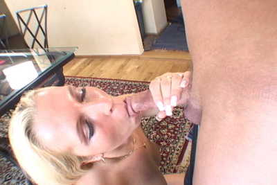 Golden-haired babe takes the creampie have a fun a champ then licks up the jism