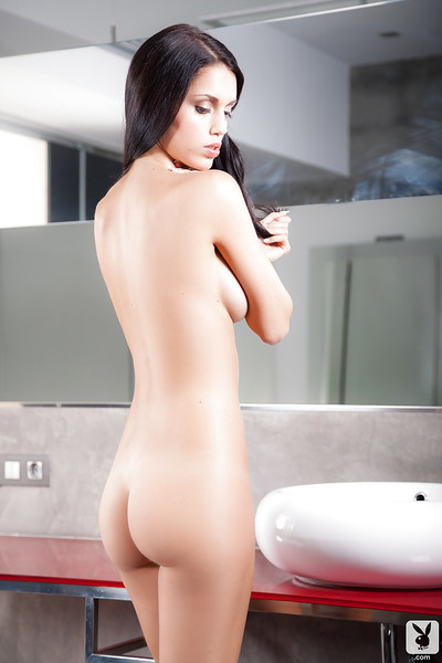 Glamorous centerfold hotty Carmen Vantini spends as well much time in shower