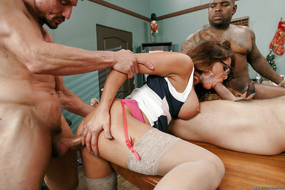 Nerdy MILF Tory Lane jolly dirty ass-hammering from immense white and ebon ramrods