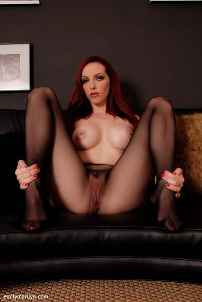 Emily Marilyn tease in seamless sheer swarthy pipe
