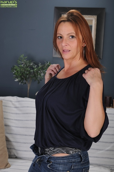 Seasoned hotty with gigantic billibongs Gia Sophia standing in her firm underwear
