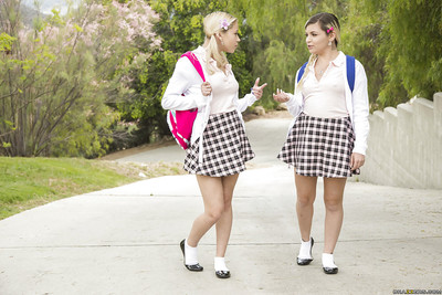 Thoroughly concupiscent schoolgirls Alex Adult baby and Marsha May sharing a ramrod