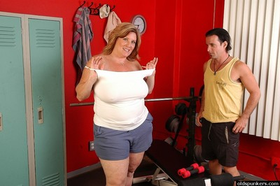 Biggest boobed BBW Deedra getting owned bend over fucking in weight room