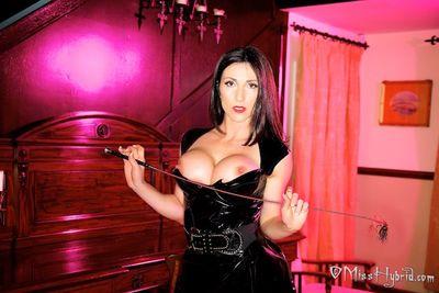 A tough nippled Miss Hybrid wearing latex