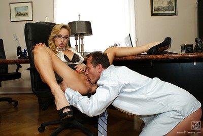 Impressive blond bitch in glasses Aleska is team-banged in her holes