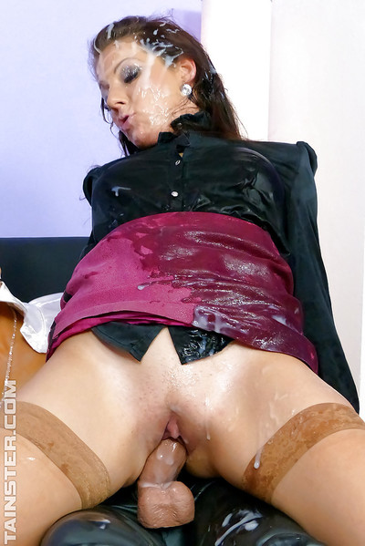 Hot European bitch Jenna Captivating in the nastiest bukkake two men plus one female