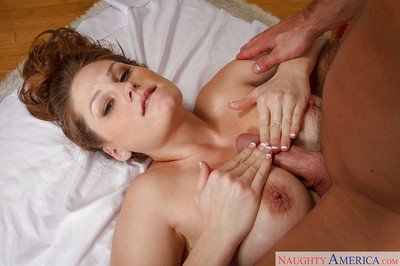 Pretty masseuse Allison Moore gives a profound dick sucking for her client