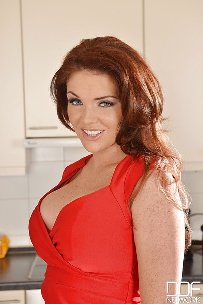 Gorgeous redhead ripe Emma undressing and showing her impressive whoppers