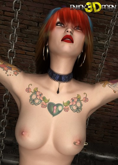 Punk dear with tattoos shows as mother gave birth body