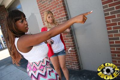 Brown angel dominates white girlfriend in a public restroom