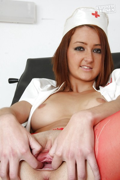 Merciless nurse in red stockings makes known her pointer sisters and plays with a sonde