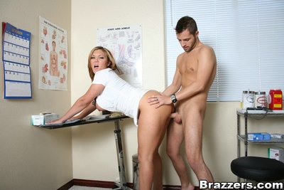 Extreme nurse Claire Dames denudes biggest hooters from her uniform and sleeps with