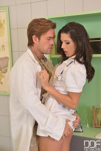 Passionate nurse accepts twofold teamed at till