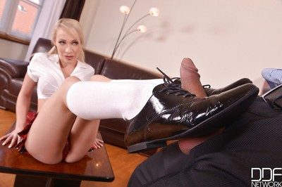 Fairy-haired Euro schoolgirl Chessie Kay having feet and legs worshiped in office