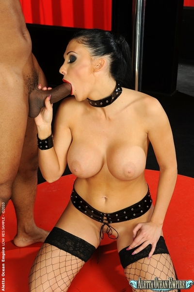 Interracial banging afterwards stripping from attractive pornstar Aletta Ocean