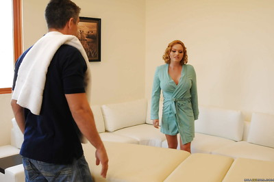 Concupiscent MILF with vast meatballs Krissy Lynn receives screwed by a lascivious masseur