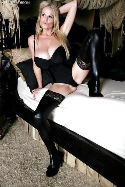 Chesty fairy-haired mamma Kelly Madison hitting hot positions in latex nylons