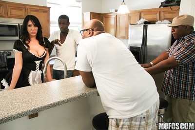 Sexually intrigued female house slave Madison Rose is admires interracial hardcore twatting