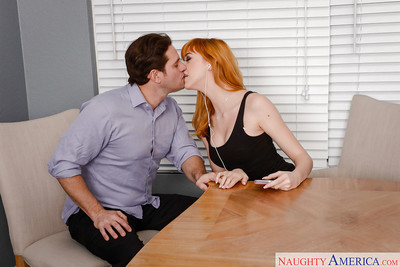 Redheaded Euro adolescent Anny Aurora giving bj ahead of sperm stream in bald bawdy cleft