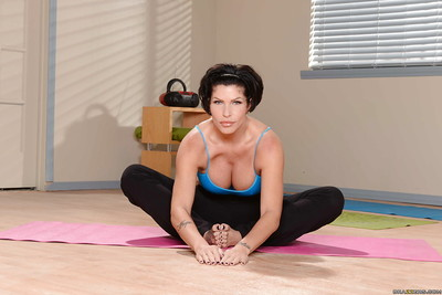 Calm lady with heavy milk shakes Shay Fox into posing in yoga g-string
