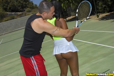 Sporty swarthy darling Stacy Ball batter receives pounded hardcore outdoor