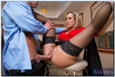 Vast busted MILF in  Brandi Love attains her slit licked and shagged