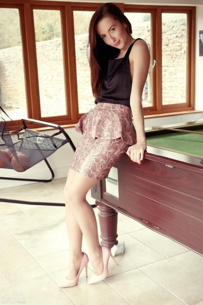 Sophia in hot  by pool table